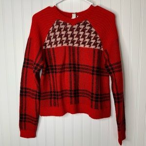 Woolrich plaid houndstooth sweater wool mohair S